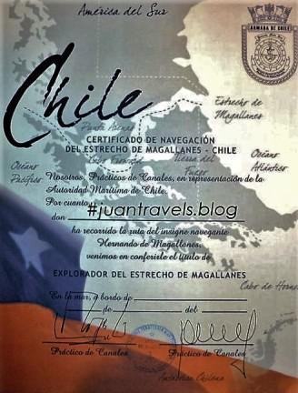 Explorer's of Magellan Strait Certificate