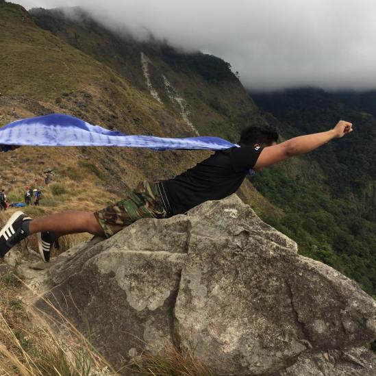 Flying above a rock at Tarak, Ridge