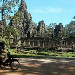 Driving into the Temple of Ankor Wat