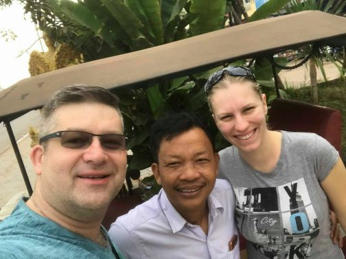 My friend, Lem with tourists visiting Cambodia